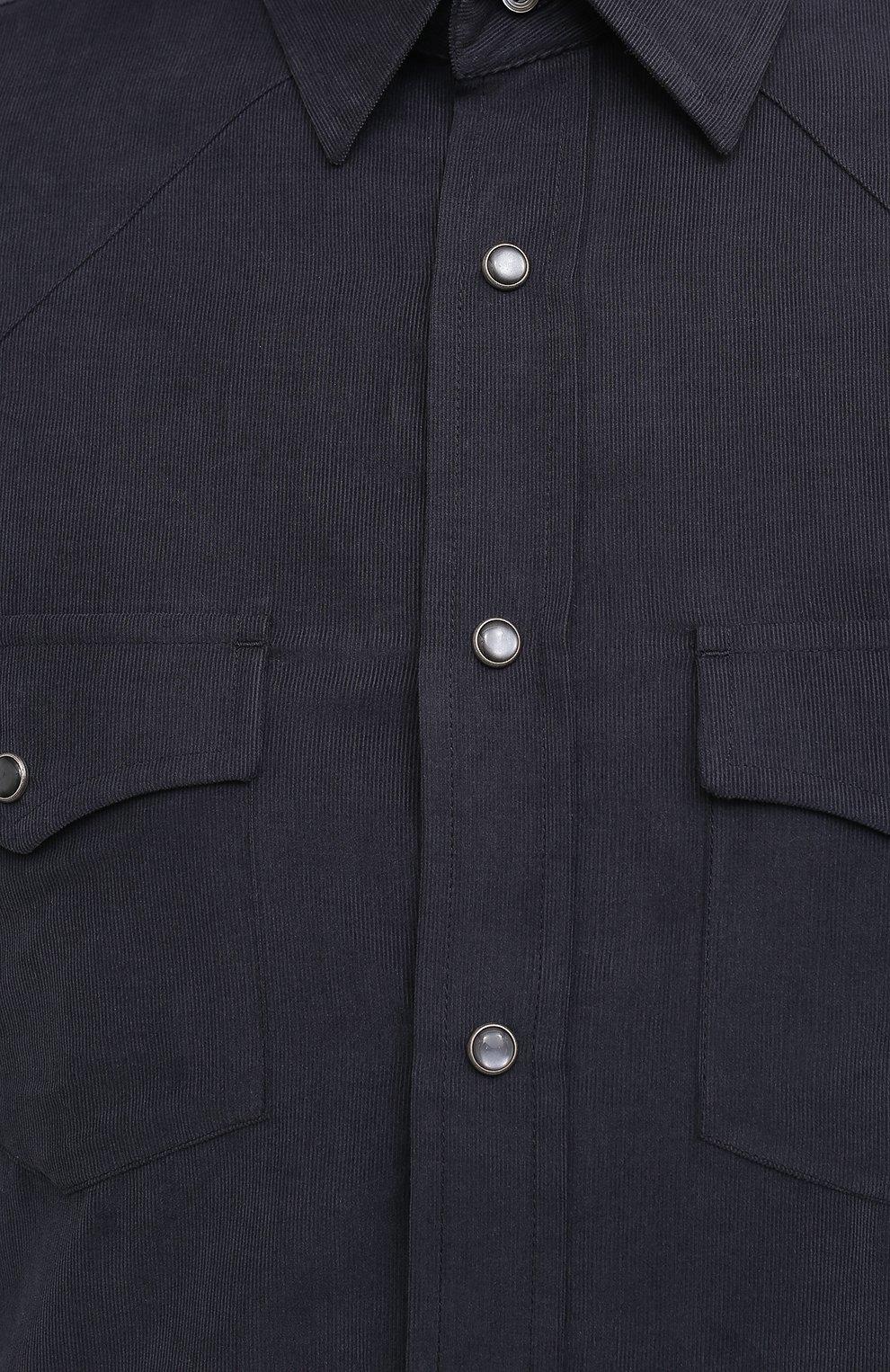 Мужская хлопковая рубашка TOM FORD синего цвета, арт. 8FT875/94MEKI | Фото 5