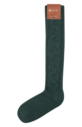 Женские кашемировые носки LORO PIANA зеленого цвета, арт. FAI3620 | Фото 1