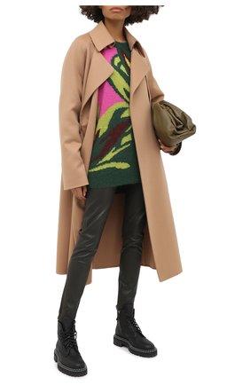 Женские кожаные леггинсы KITON хаки цвета, арт. D50171X05S03 | Фото 2