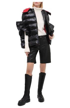 Женские кожаные шорты RTA черного цвета, арт. WU0LE-3030BKSU | Фото 2 (Длина Ж (юбки, платья, шорты): Мини; Женское Кросс-КТ: Шорты-одежда)