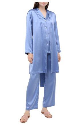 Женский шелковый халат LUNA DI SETA голубого цвета, арт. VLST08009 | Фото 2