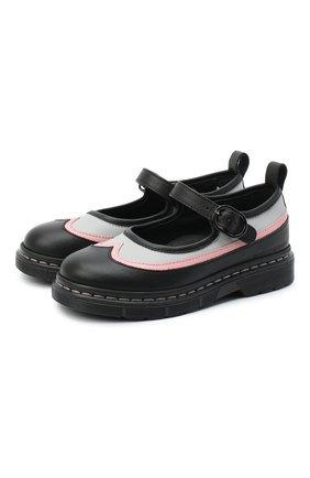 Детские кожаные туфли EMPORIO ARMANI черного цвета, арт. XND003/X0I06 | Фото 1