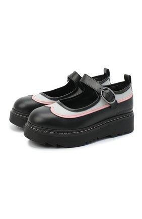 Детские кожаные туфли EMPORIO ARMANI черного цвета, арт. XXD011/X0I35/28-34 | Фото 1