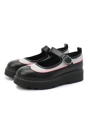 Детские кожаные туфли EMPORIO ARMANI черного цвета, арт. XXD011/X0I35/35-40 | Фото 1