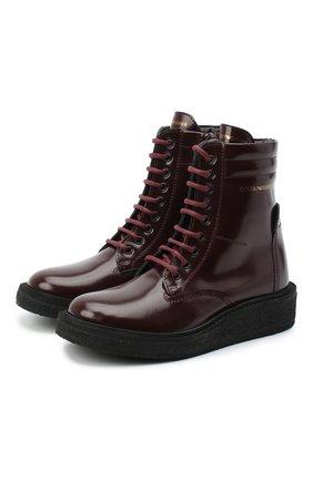 Детские кожаные ботинки EMPORIO ARMANI бордового цвета, арт. XYN005/X0I40/28-34 | Фото 1