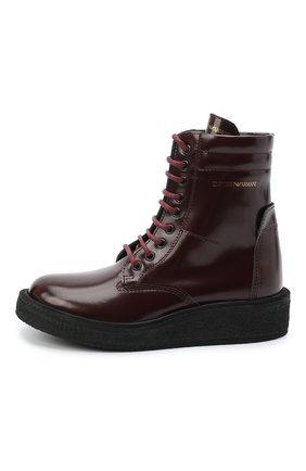Детские кожаные ботинки EMPORIO ARMANI бордового цвета, арт. XYN005/X0I40/28-34 | Фото 2