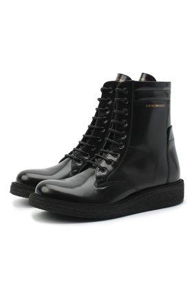 Детские кожаные ботинки EMPORIO ARMANI черного цвета, арт. XYN005/X0I40/35-40 | Фото 1