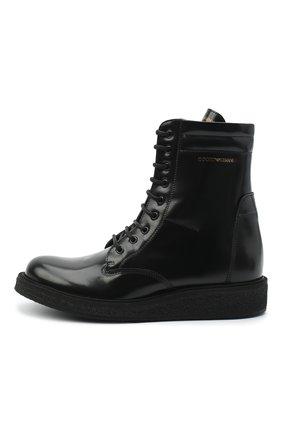 Детские кожаные ботинки EMPORIO ARMANI черного цвета, арт. XYN005/X0I40/35-40 | Фото 2