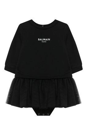 Женский хлопковое платье-боди BALMAIN черного цвета, арт. 6N1340/NE060/3-9M | Фото 1