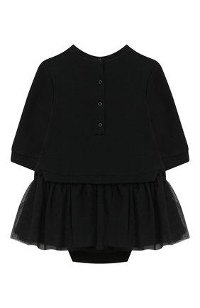 Женский хлопковое платье-боди BALMAIN черного цвета, арт. 6N1340/NE060/3-9M | Фото 2