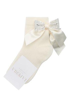 Детские хлопковые носки LA PERLA бежевого цвета, арт. 47049/1-2 | Фото 1