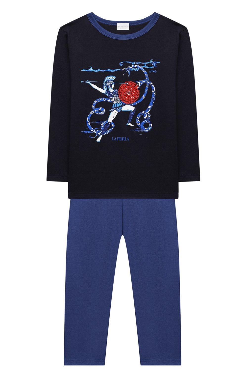 Женская хлопковая пижама LA PERLA темно-синего цвета, арт. 54862/8A-14A   Фото 1