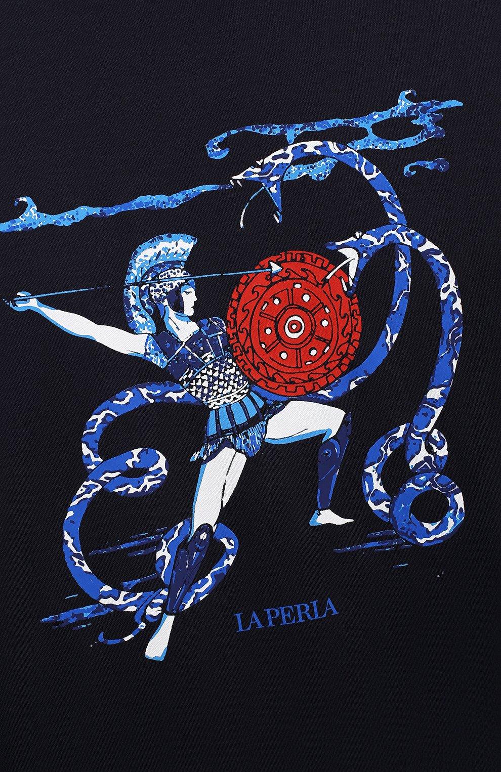 Женская хлопковая пижама LA PERLA темно-синего цвета, арт. 54862/8A-14A   Фото 4