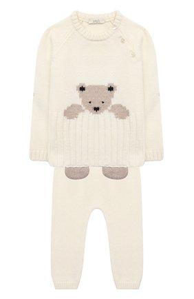 Детский комплект из пуловера и брюк BABY T белого цвета, арт. 20AI060C/1M-12M   Фото 1