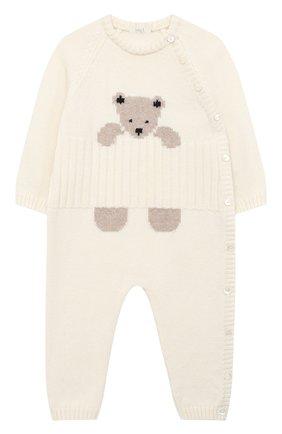 Детский шерстяной комбинезон BABY T белого цвета, арт. 20AI061T/1M-12M | Фото 1