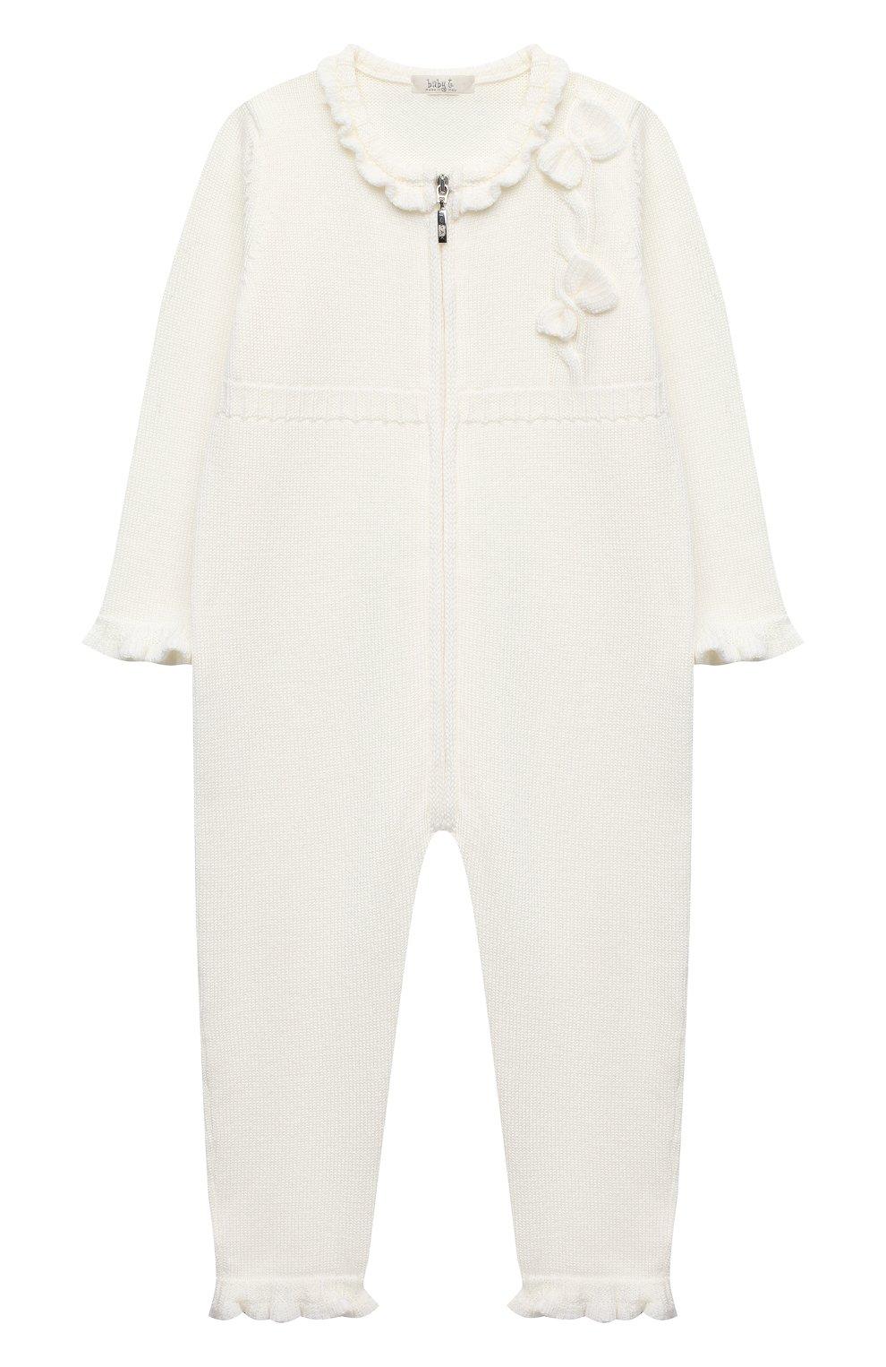 Детский шерстяной комбинезон BABY T белого цвета, арт. 20AI101TZ/1M-12M | Фото 1