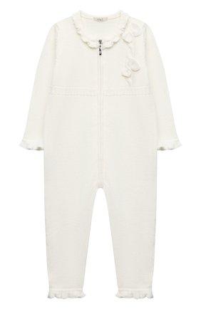 Детский шерстяной комбинезон BABY T белого цвета, арт. 20AI101TZ/18M-3A | Фото 1