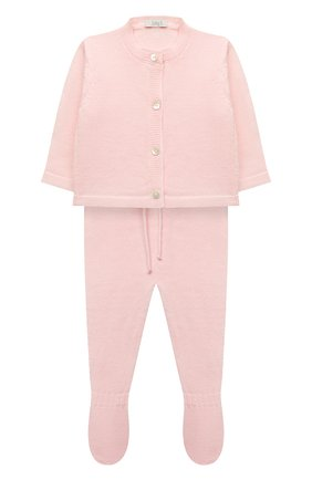 Детский комплект из кардигана и ползунков BABY T светло-розового цвета, арт. 20AI115C | Фото 1