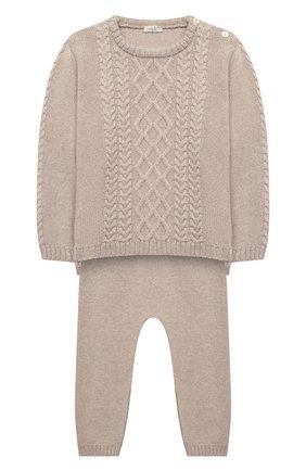 Детский комплект из пуловера и брюк BABY T бежевого цвета, арт. 20AI160C/18M-3A | Фото 1
