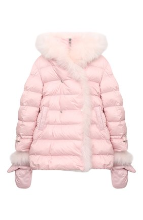 Детского комплект из куртки и варежек YVES SALOMON ENFANT розового цвета, арт. 21WEM012XXD0SW/12-14 | Фото 1