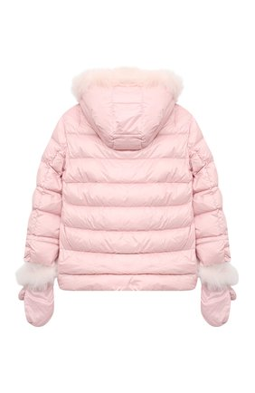 Детского комплект из куртки и варежек YVES SALOMON ENFANT розового цвета, арт. 21WEM012XXD0SW/12-14 | Фото 2