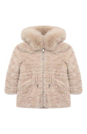 Детское шерстяное пальто с меховой отделкой YVES SALOMON ENFANT бежевого цвета, арт. 21WEM701XXLATI/4-6 | Фото 1