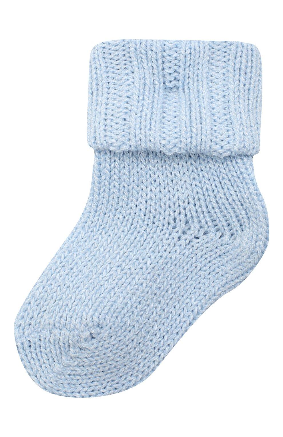 Детские хлопковые носки FALKE голубого цвета, арт. 10408. | Фото 1 (Материал: Текстиль, Хлопок)