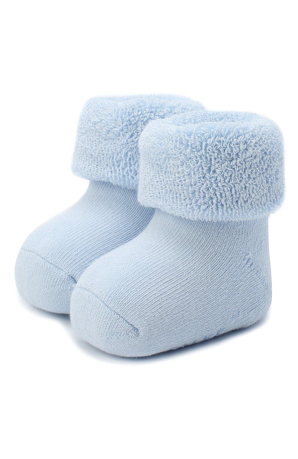 Детские хлопковые носки FALKE голубого цвета, арт. 10612. | Фото 1 (Материал: Текстиль, Хлопок)