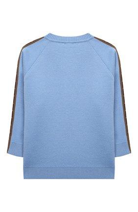 Детский шерстяной пуловер FENDI голубого цвета, арт. JUG003/A8L9/8A-12+   Фото 2