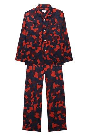 Женская хлопковая пижама DEREK ROSE красного цвета, арт. 7025-LEDB036/3-12 | Фото 1 (Рукава: Длинные; Материал внешний: Хлопок; Ростовка одежда: 4 года | 104 см, 8 лет | 128 см)