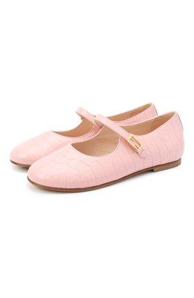 Детские кожаные туфли FENDI розового цвета, арт. JFR319/TC3/20-26 | Фото 1