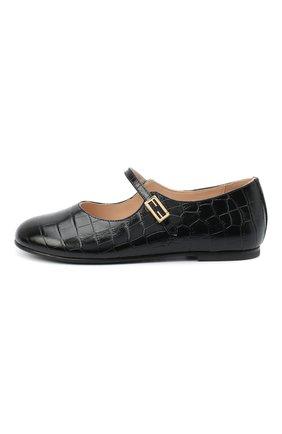Детские кожаные туфли FENDI черного цвета, арт. JFR319/TC3/20-26 | Фото 2