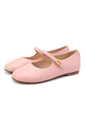 Детские кожаные туфли FENDI розового цвета, арт. JFR321/TC3/27-31 | Фото 1