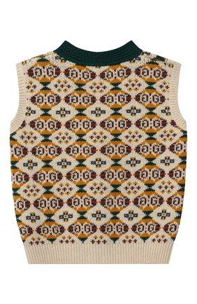 Детский шерстяной жилет GUCCI разноцветного цвета, арт. 615670/XKBEJ | Фото 2