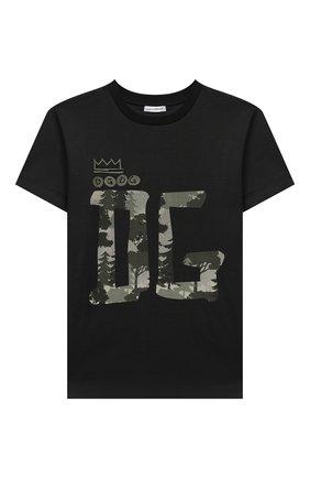 Детская хлопковая футболка DOLCE & GABBANA черного цвета, арт. L4JTBL/G7X0F/8-14   Фото 1