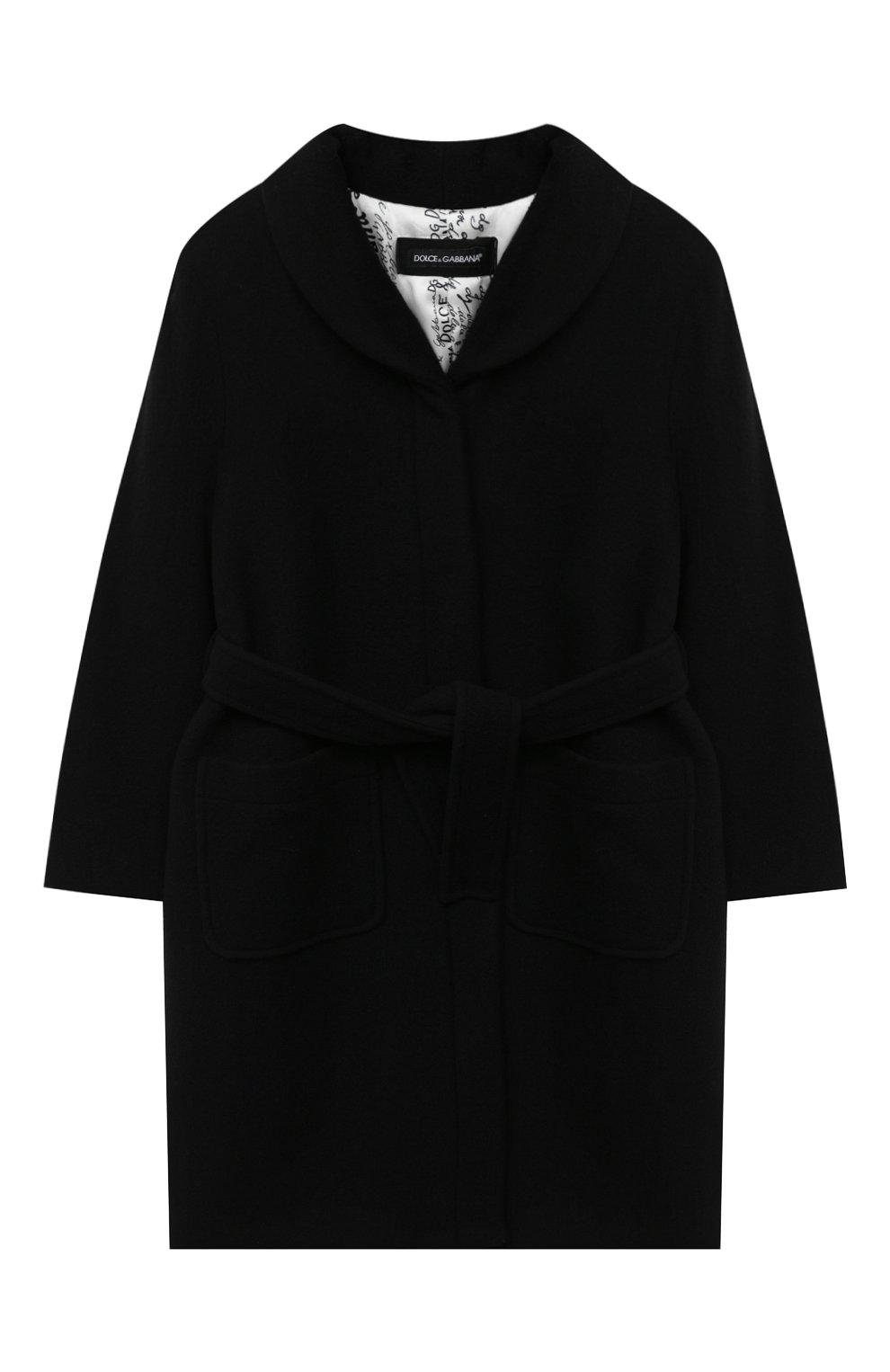 Детское шерстяное пальто DOLCE & GABBANA черного цвета, арт. L54C01/HUMAK/8-14   Фото 1