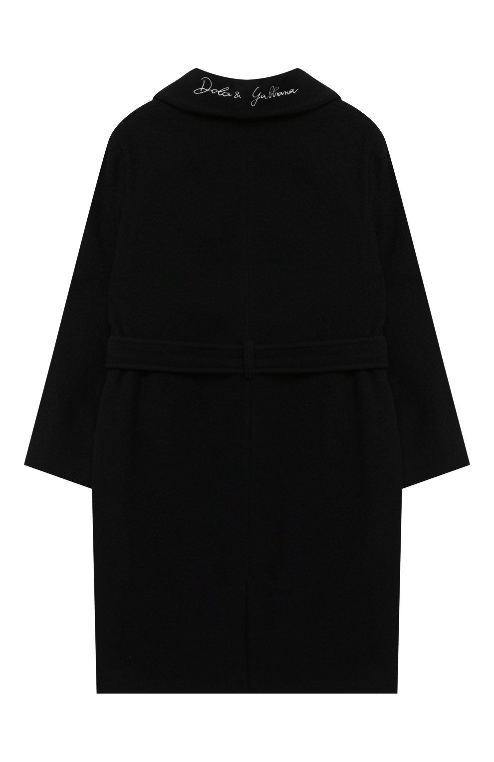 Детское шерстяное пальто DOLCE & GABBANA черного цвета, арт. L54C01/HUMAK/8-14   Фото 2