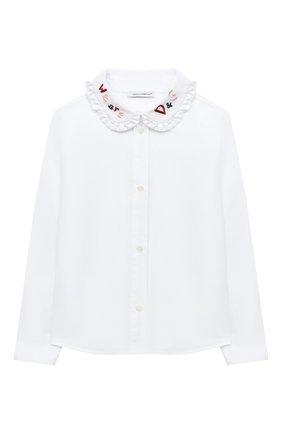 Детское хлопковая блузка DOLCE & GABBANA белого цвета, арт. L54S95/G7WXS/2-6 | Фото 1
