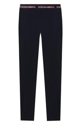Детские хлопковые брюки DOLCE & GABBANA темно-синего цвета, арт. L5JP6V/G7WYT/8-14   Фото 2 (Материал внешний: Хлопок; Девочки Кросс-КТ: Брюки-одежда; Ростовка одежда: 10 - 11 лет   140 - 146см, 12 лет   152 см, 8 лет   128 см)
