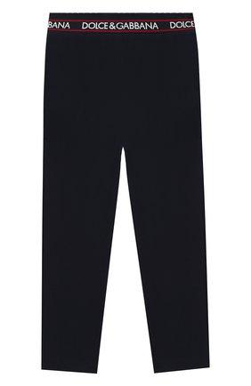 Детские хлопковые брюки DOLCE & GABBANA темно-синего цвета, арт. L5JP6V/G7WYT/2-6 | Фото 1