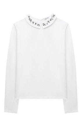 Детская хлопковая блузка DOLCE & GABBANA белого цвета, арт. L5JTEA/G7WY0/8-14 | Фото 1
