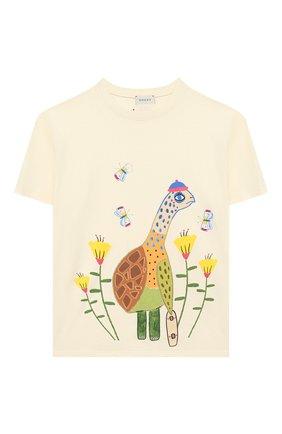 Детская футболка GUCCI белого цвета, арт. 580991/XJCT0 | Фото 1