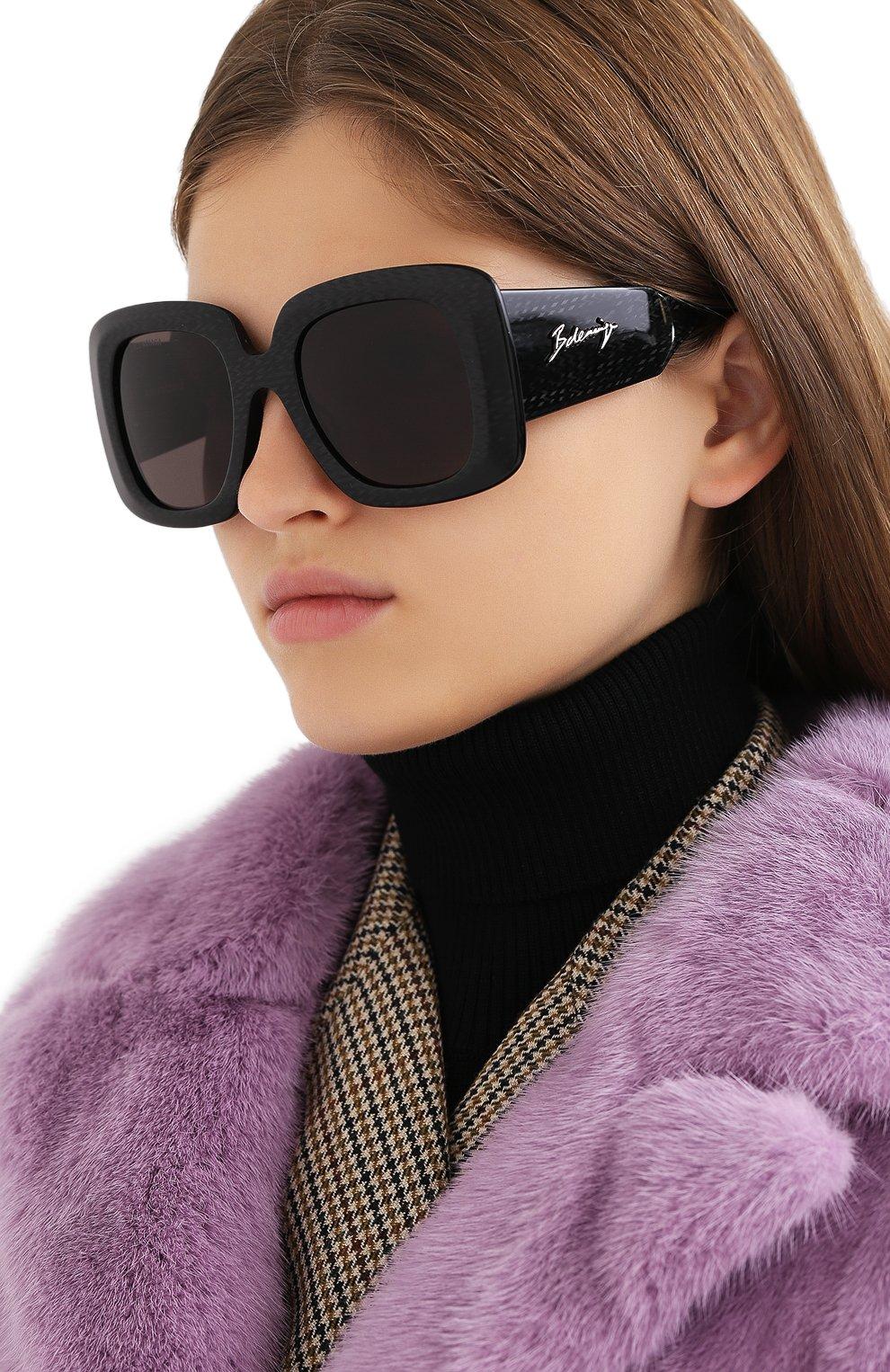 Женские солнцезащитные очки BALENCIAGA черного цвета, арт. 641685/T0001 | Фото 2