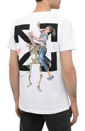 Мужская хлопковая футболка OFF-WHITE белого цвета, арт. 0MAA027F20FAB0030110   Фото 4