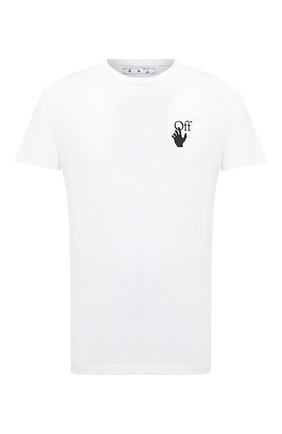 Мужская хлопковая футболка OFF-WHITE белого цвета, арт. 0MAA027F20FAB0040110   Фото 1