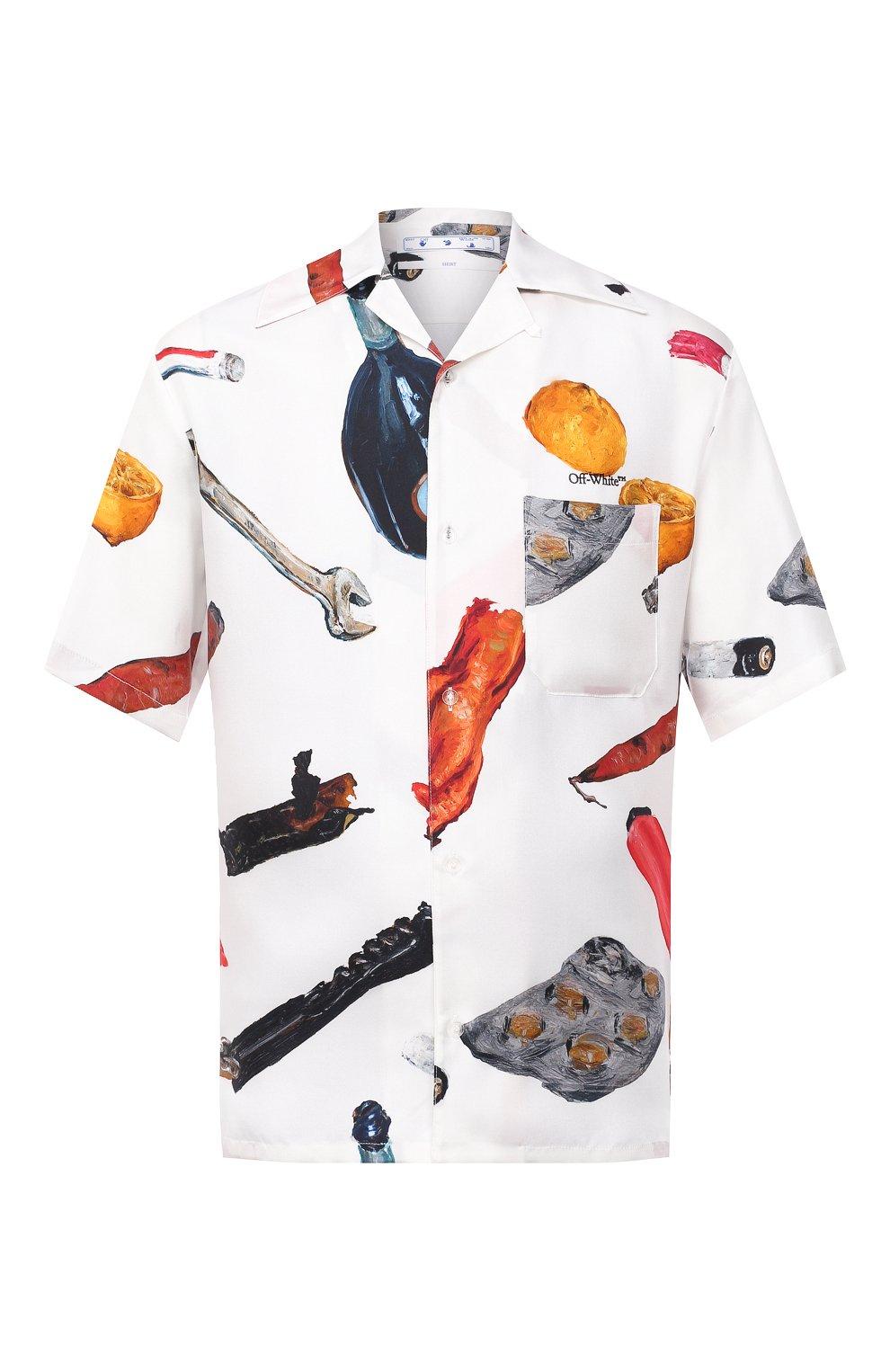 Мужская шелковая рубашка OFF-WHITE белого цвета, арт. 0MGA130F20FAB0010110 | Фото 1