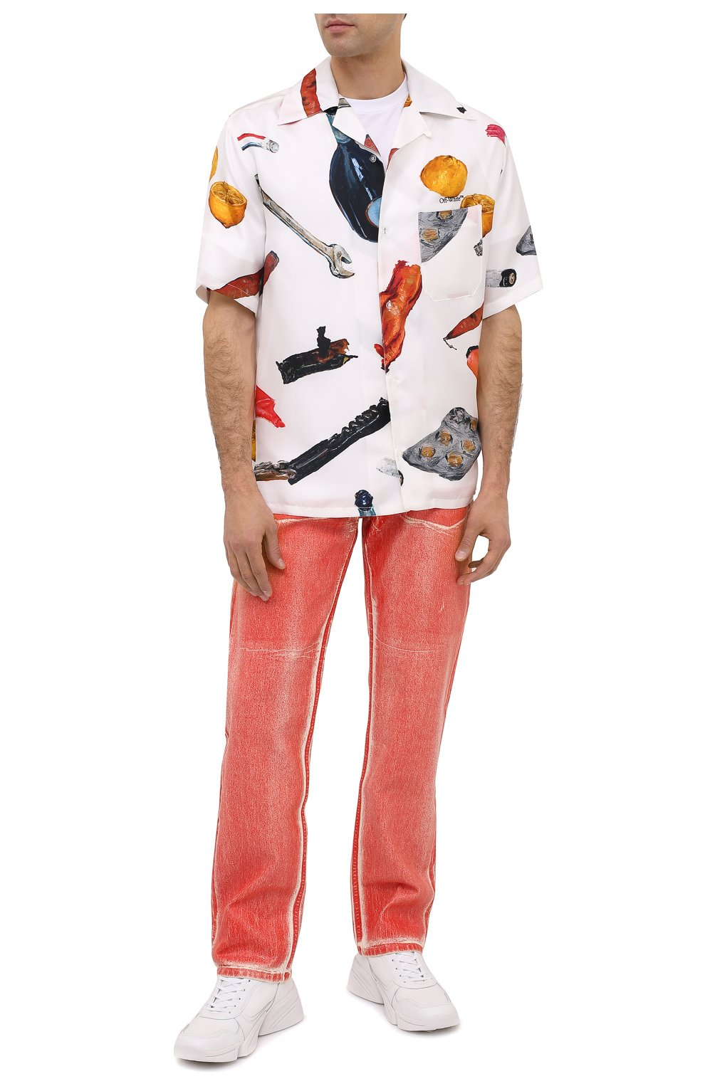 Мужская шелковая рубашка OFF-WHITE белого цвета, арт. 0MGA130F20FAB0010110 | Фото 2