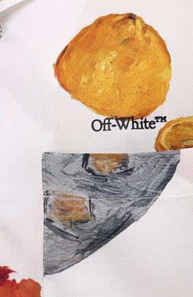 Мужская шелковая рубашка OFF-WHITE белого цвета, арт. 0MGA130F20FAB0010110 | Фото 5
