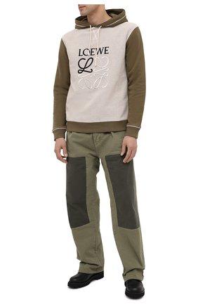 Мужской хлопковое худи LOEWE хаки цвета, арт. H526341X94 | Фото 2