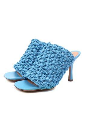 Женские кожаные мюли bv board BOTTEGA VENETA голубого цвета, арт. 630179/VBP20 | Фото 1